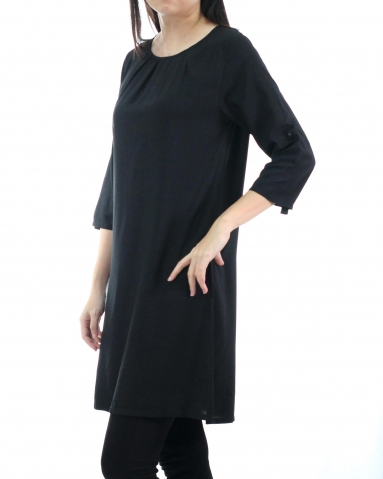 TINA ROUND NECK 3/4 SLEEVE DRESS IN BLACK