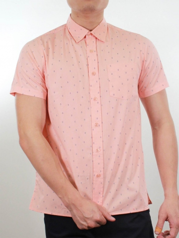 KENNY PRINTED SHORT SLEEVE SHIRT IN PINK