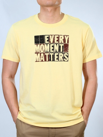 MEN EVERY MOMENT GRAPHIC TEE IN LIGHT YELLOW