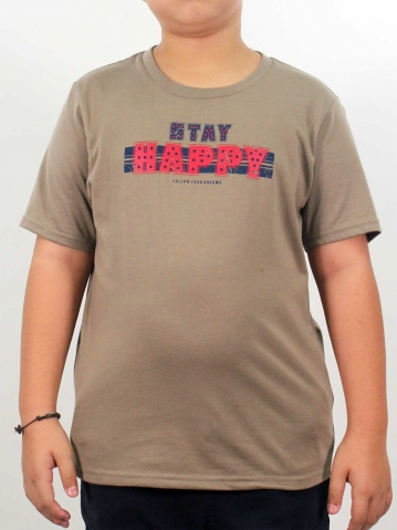 BOYS STAY HAPPY GRAPHIC TEE IN KHAKI