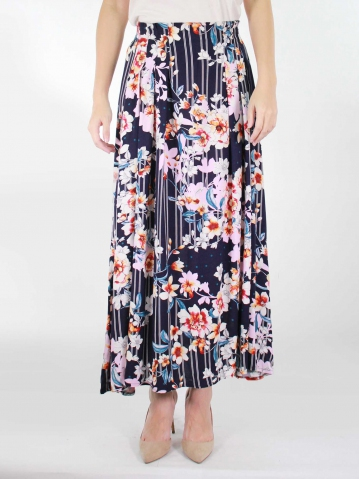 KATE PRINTED LONG SKIRT IN DARK NAVY