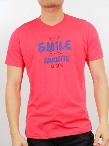 MEN SMILE IS MY FAVORITE GRAPHIC TEE IN RED