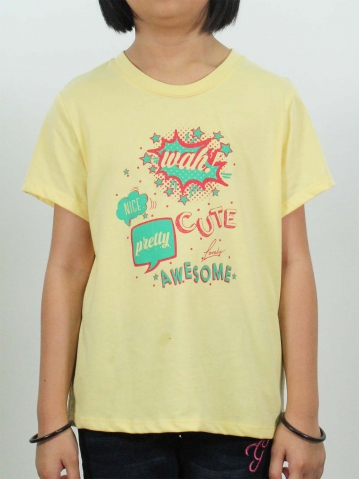 GIRLS AWESOME GRAPHIC TEE IN MID YELLOW