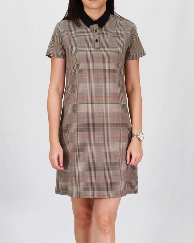 RAINE COLLARED SHORT SLEEVE DRESS IN DARK BROWN