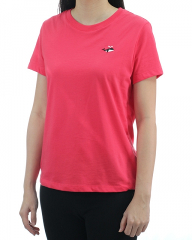 WOMEN WHALE EMBROIDERY LOGO TEE IN ROSE