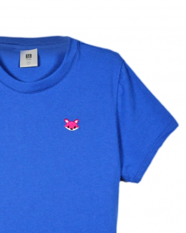 GIRLS CARTOON FOX EMBROIDERY LOGO TEE IN ROYAL