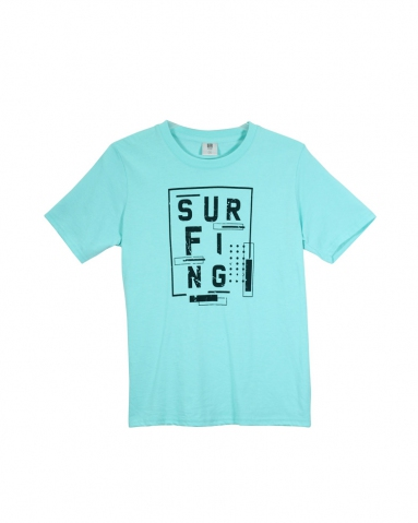 BOYS SURFING GRAPHIC TEE IN LIGHT GREEN