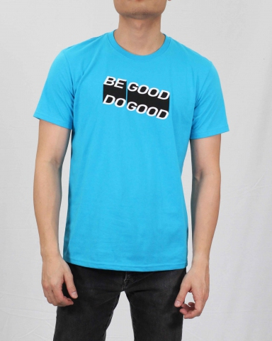 MEN BE GOOD DO GOOD GRAPHIC TEE IN TURQUOISE