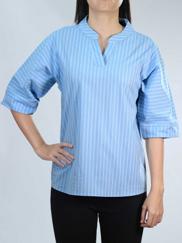 NEOL V NECK 3/4 SLEEVE BLOUSE IN MID BLUE