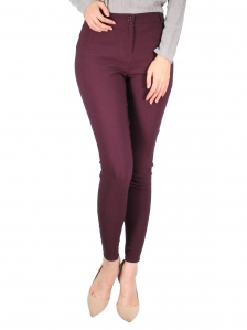 GLORIA SOLID LONG JEGGING IN BURGUNDY