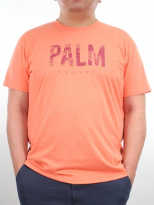 MEN PLUS SIZE PALM LEAVES GRAPHIC TEE IN PEACH