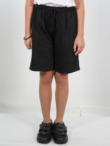 HANNA SOLID KNIT BERMUDA SHORTS IN BLACK