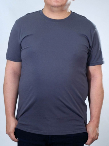 RONALD PLUS SIZE SHORT SLEEVE PLAIN TEE IN MID GREY