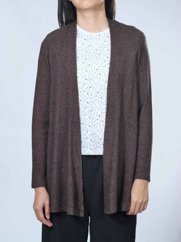 NEOL LONG SLEEVE CARDIGAN IN CHESTNUT