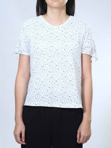 NOEL HOUSE PRINT SHORT SLEEVE TOP IN WHITE