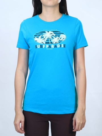 WOMEN SURF PARADISE GRAPHIC TEE IN MID BLUE