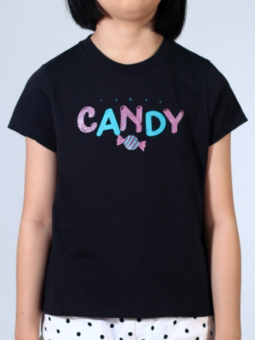 GIRLS CANDY GRAPHIC TEE IN BLACK