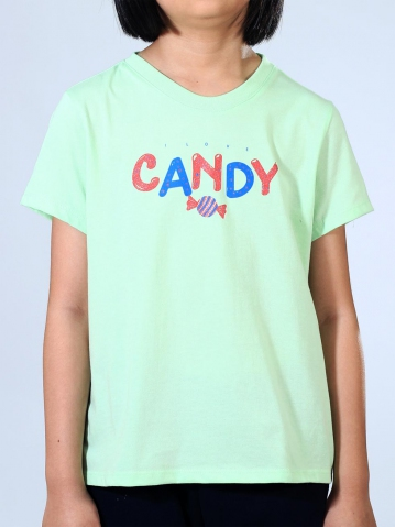 GIRLS CANDY GRAPHIC TEE IN LIGHT GREEN