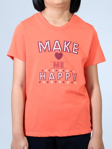 GIRLS MAKE ME HAPPY GRAPHIC TEE IN DARK PEACH