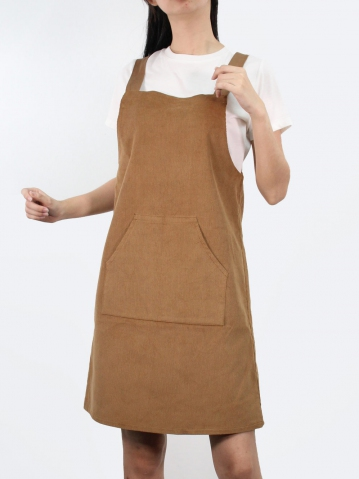 JANE CORDUROY PINAFORE DRESS IN CAMEL
