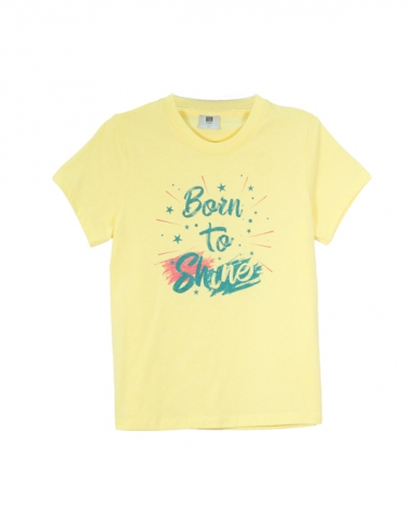 GIRLS BORN TO SHINE GRAPHIC TEE IN LIGHT YELLOW