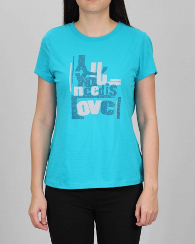 WOMEN ALL YOU NEED IS LOVE GRAPHIC TEE IN TURQUOISE