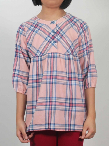 LAURA MANDARIN COLLARED 3/4 SLEEVE BLOUS IN PINK
