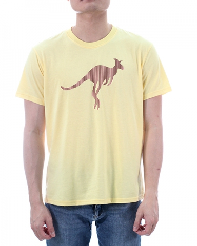 MEN KANGAROO IMAGE GRAPHIC TEE IN LIGHT YELLOW