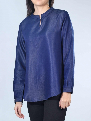 NEOL MANDARIN COLLAR 3/4 SLEEVE BLOUSE IN DARK NAVY