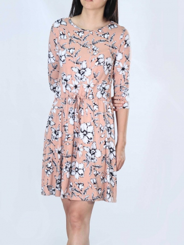 NEOL PRINTED 3/4 SLEEVE DRESS IN PEACH