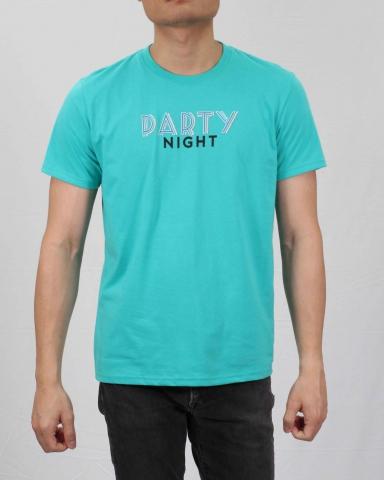 MEN PARTY NIGHT GRAPHIC TEE IN MID TEAL