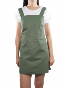 ELLA CASUAL PINAFORE DRESS IN ARMY GREEN
