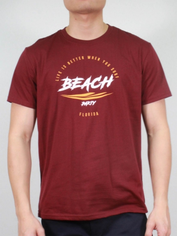 MEN BEACH PARTY GRAPHIC TEE IN BURGUNDY