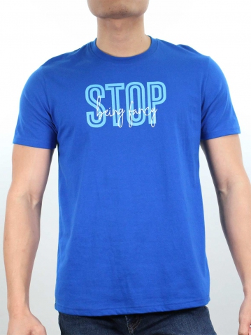 MEN STOP BEING FANCY GRAPHIC TEE IN ROYAL