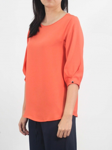 LYNN ROUND NECK 3/4 SLEEVE BLOUSE IN MID ORANGE