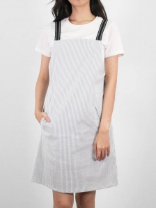 HEBE COTTON PINAFORE DRESS IN DARK NAVY