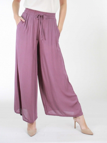KATE SOLID FLARED LONG PANTS IN MID PURPLE