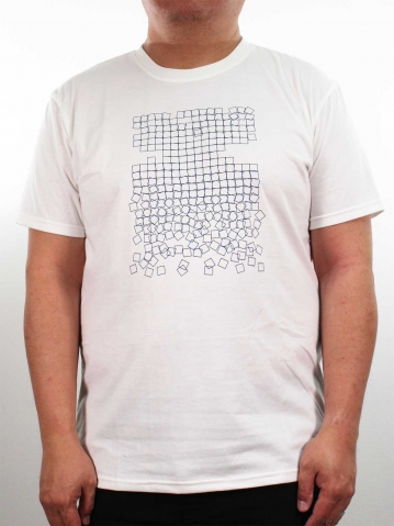 MEN PLUS SIZE SQUARE SHAPES GRAPHIC TEE IN OFF WHITE