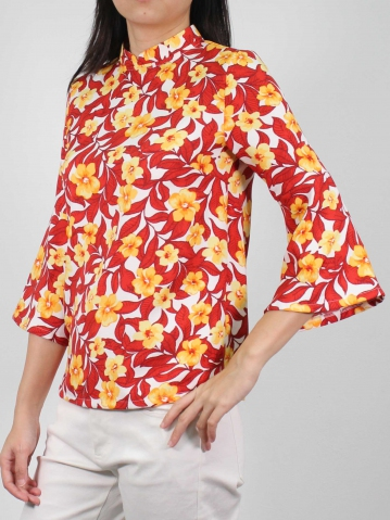 MOLLY PRINTED 3/4 SLEEVE BLOUSE IN RED