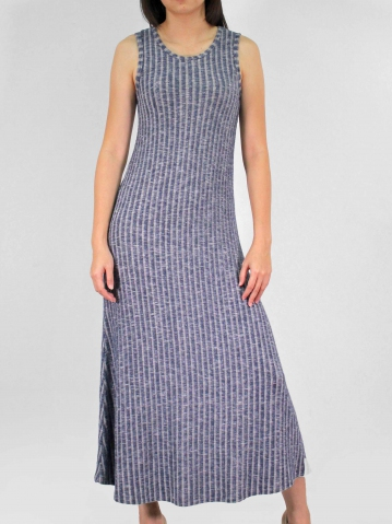 MOLLY ROUND NECK SLEEVELESS DRESS IN DARK NAVY