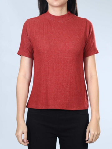 NEOL CREW NECK FRENCH SLEEVE TOP IN MAROON