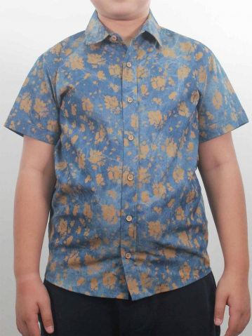 KEVIN PRINTED SHORT SLEEVE SHIRT IN MID BLUE