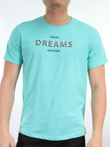 MEN MAKE DREAMS HAPPEN GRAPHIC TEE IN MID TEAL