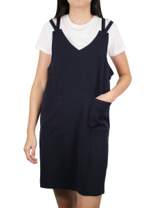 FIONA COTTON PINAFORE DRESS IN DARK NAVY