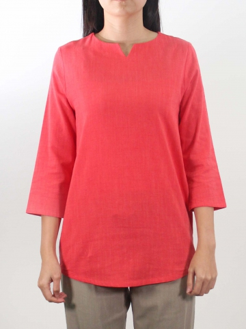 LYNN ROUND NECK 3/4 SLEEVE BLOUSE IN ROSE