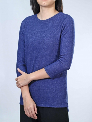 NEOL ROUND NECK 3/4 SLEEVE TOP IN DARK NAVY