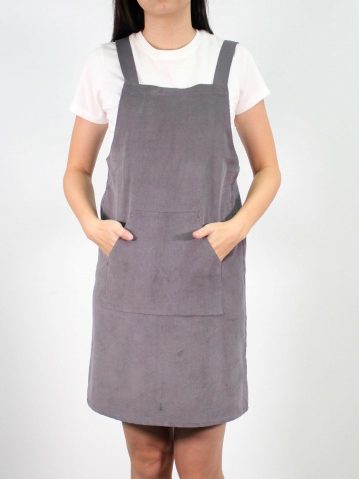 JANE CORDUROY PINAFORE DRESS IN MID GREY