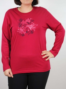 WOMEN PLUS SIZE FISH IMAGE GRAPHIC TEE IN MAROON