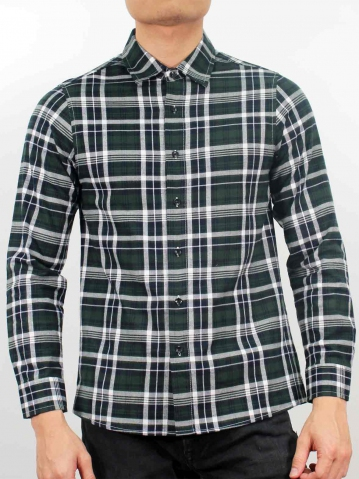 LUCAS COLLARED LONG SLEEVE CHECK SHIRT IN DARK OLIVE