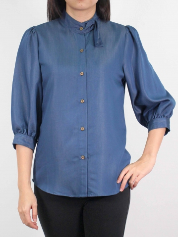 MOON MOCK TURTLE NECK 3/4 SLEEVE BLOUSE IN DARK BLUE